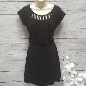 Gap black cap sleeve cutout dress